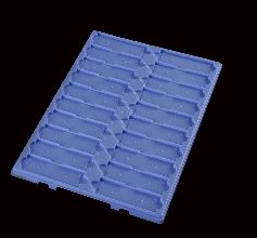 Slide Tray Fast Read with Dividers 20 Place without Lid Polystyrene Blue