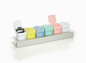 Easydip Slide Staining Kit with One Anodized Aluminium Rack along with six assorted colour Jars (2 White Ones) and 1 M905-12DGY Slide Staining Rack