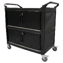 Service Trolley with Cabinet, Sliding Doors and Lockable, 3 Tier, 895 x 505mm