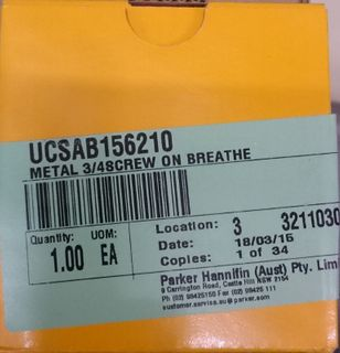 PARKER BREATHER METAL 3 1/4 BSPP 10MIC