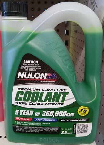 NULON COOLANT L/LIFE C/TRATE (GREEN)2.5L
