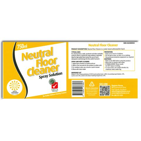 Earth Renewable Neutral Cleaner - Mops - Label