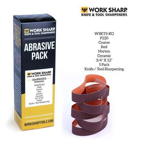 WORKSHARP REPLACEMENT BELT PACK, 5PCE P220 CERAMIC, FINE TOOL SHARPENING, T/S WSKTS-KO