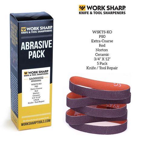 WORKSHARP REPLACEMENT BELT PACK, 5PCE P80 CERAMIC, SHAPING & PROFILING, T/S WSKTS-KO