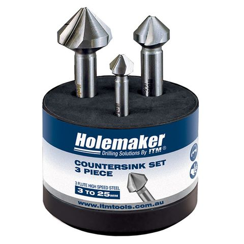 HOLEMAKER COUNTERSINK SET, 3 PIECE, 3 FLUTE 90 DEGREE, 10.4MM, 16.5MM, 25.0MM