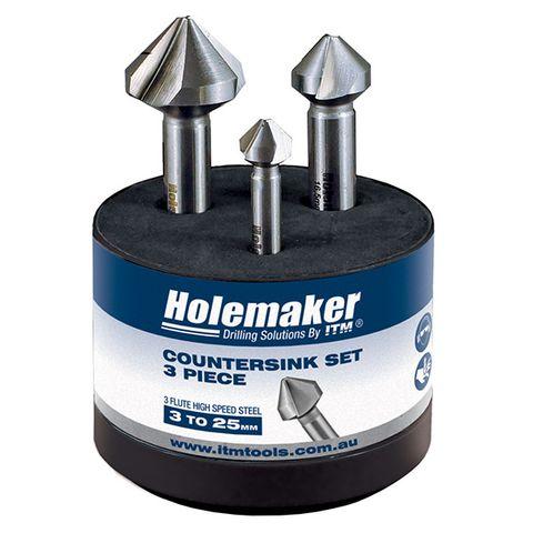 HOLEMAKER COUNTERSINK SET, 3 PIECE, 3 FLUTE 90 DEGREE, 10.4MM, 16.5MM, 25.0MM