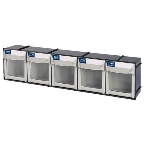 ITM FLIP OUT PARTS BIN, 5 DRAWER, 603W X 123D X 153H