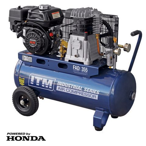 ITM AIR COMPRESSOR, BELT DRIVE, PETROL 5.5HP HONDA 60LTR FAD 355L/MIN