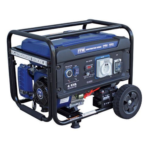 ITM 4KVA GENERATOR PETROL CONSTRUCTION, 3400 WATT PEAK ELECTRIC START W/REMOTE
