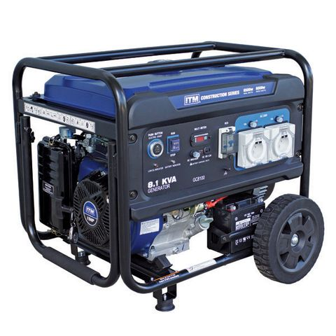 ITM 8.1KVA GENERATOR PETROL CONSTRUCTION, 6500 WATT PEAK ELECTRIC START W/REMOTE