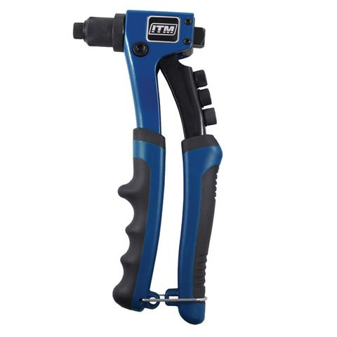 ITM RIVETER, HAND PROFESSIONAL DIE CAST ALUMINIUM 3 JAW, 2.4 TO 4.8MM NOZZLES