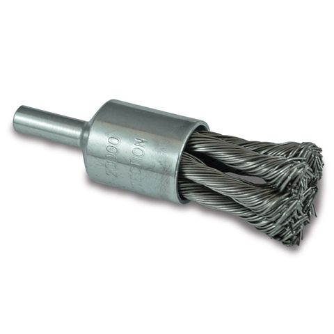 "ITM TWIST KNOT END BRUSH STAINLESS STEEL 25MM, 1/4"" ROUND SHANK"