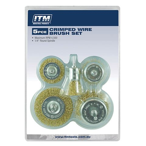 ITM CRIMP WIRE BRUSH KIT 5PCE INCLUDES: 50MM & 75MM CUP BRUSH, 50MM & 75MM WHEEL BRUSH & 25MM END BRUSH
