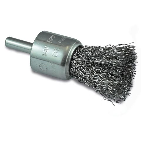 "ITM CRIMP WIRE END BRUSH STAINLESS STEEL HIGH SPEED 25MM, 1/4"" ROUND SHANK"