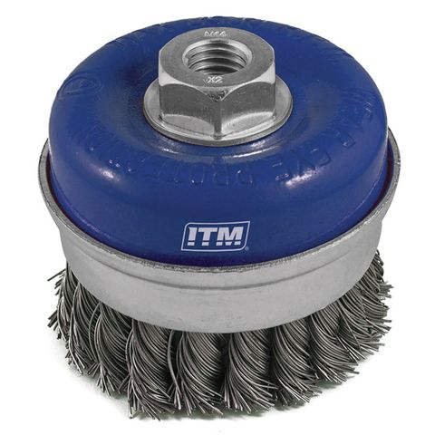 ITM TWIST KNOT CUP BRUSH STEEL 75MM WITH BAND BOXED, MULTI THREAD