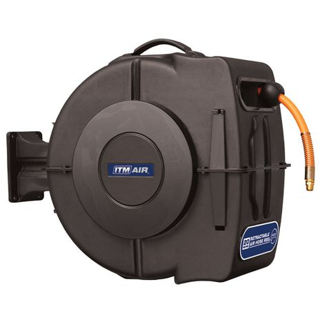 """ITM RETRACTABLE AIR HOSE REEL, 10MM X 20M HYBRID POLYMER AIR HOSE WITH 1/4"""" BSP MALE FITTINGS"""