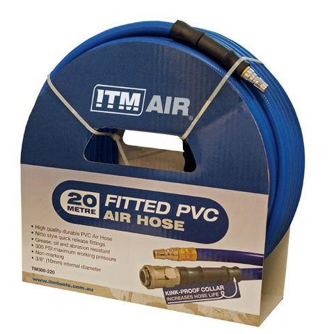 "ITM AIR HOSE, 10MM (3/8"") X 20M PVC AIR HOSE, COMES WITH COUPLERS"