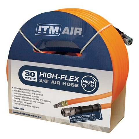 """ITM AIR HOSE, 10MM (3/8"""") X 30M HYBRID POLYMER AIR HOSE, COMES WITH NITTO STYLE FITTINGS"""