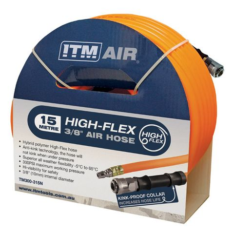 """ITM AIR HOSE, 10MM (3/8"""") X 15M HYBRID POLYMER AIR HOSE, COMES WITH NITTO STYLE FITTINGS"""