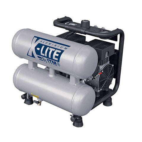 X-LITE AIR COMPRESSOR SILENT 1HP ALUMINIUM TWIN TANK 10L FAD 62L/MIN