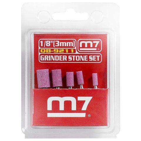 M7 GRINDER STONE SET, 5 PIECE CYLINDRICAL, 3MM SHANK