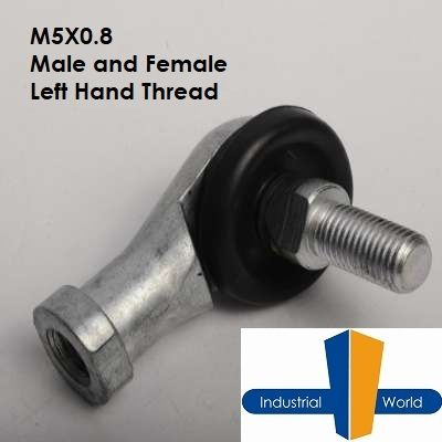 METRIC LEFT HAND STUDDED ROD END M5X1MM