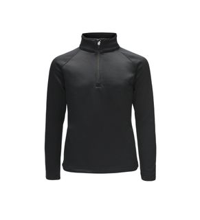 SPYDER SAVONA ZIP T-NECK KIDS TOP - BLACK/BLACK - SIZE M