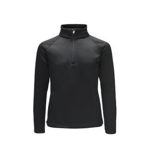 SPYDER SAVONA ZIP T-NECK KIDS TOP - BLACK/BLACK - SIZE XL