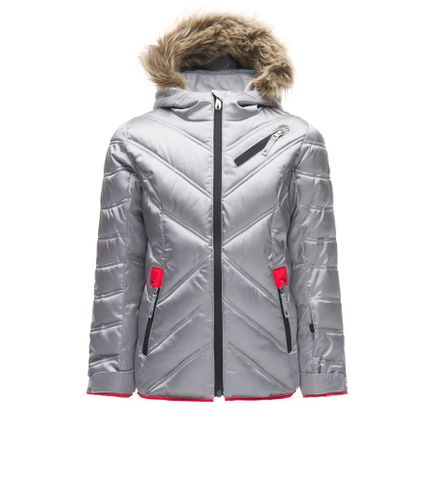 SPYDER ATLAS SYNTHETIC DOWN GIRLS JACKET  WITH FAUX FUR, SILVER, 14