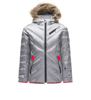 SPYDER ATLAS SYNTHETIC DOWN GIRLS JACKET  WITH FAUX FUR, SILVER, 18