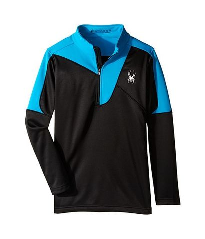 SPYDER CHARGER BOYS TOP - BLACK/ELECTRIC BLUE - SIZE XS