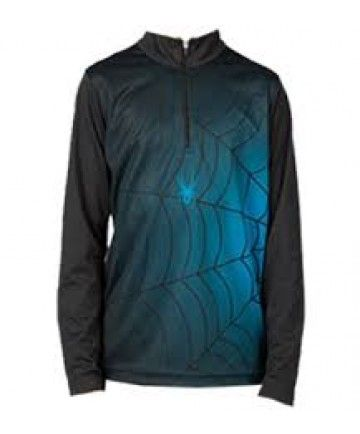 SPYDER BUGCENTRIC BOYS TOP - BLACK/ELECTRIC BLUE - SIZE S