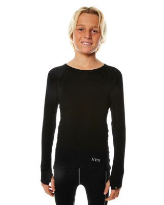 XTM MERINO KIDS TOP - BLACK - 230 GRAMS - SIZE 4