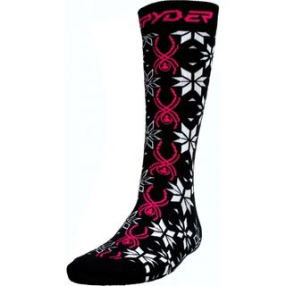 SPYDER SUNDOWNER WOMENS SOCKS - BLACK/BRYTE PINK/WHITE