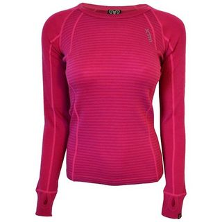XTM MERINO WOMENS TOP - PINK STRIPE - 230 GRAMS - SIZE 12