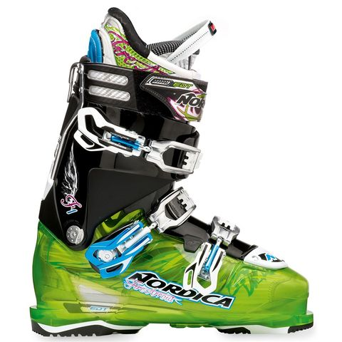 NORDICA FIREARROW F1 MENS SKI BOOTS - TRANSPARENT GREEN/BLACK - SIZE 25.5