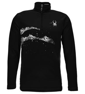 SPYDER LIMITLESS BOYS 1/4 ZIP T-NECK TOP - BLACK/SLASH - SIZE M