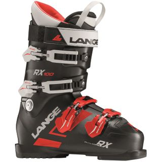 LANGE RX100 MENS SKI BOOTS - BLACK/RED 28.5