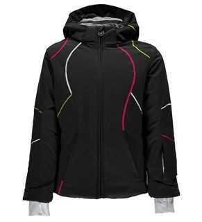 SPYDER TRESH GIRLS JACKET - BLACK/WHITE/FRESH - SIZE 16