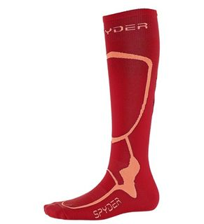 SPYDER PRO LINER WOMENS SOCKS - RED/CORAL