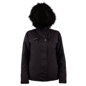 PURE MERIBEL FUR WOMENS JACKET - BLACK - SIZE 6
