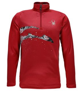 SPYDER LIMITLESS BOYS 1/4 ZIP T-NECK TOP - RED/SLASH - SIZE L