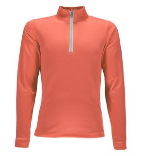 SPYDER SAVONA GIRLS T-NECK TOP - CORAL/WHITE - SIZE M