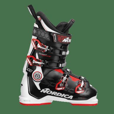 NORDICA SPEEDMACHINE 100 MENS SKI BOOTS - BLACK/WHITE/RED - SIZE 29.5