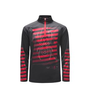 SPYDER LIMITLESS PERFECTOR ZIP BOYS TOP - BLACK/RED/RED - SIZE L