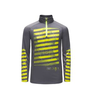 SPYDER LIMITLESS PERFECTOR ZIP BOYS TOP - POLAR/BRYTE YELLOW/BRYTE YELLOW - SIZE M