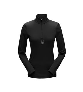 SPYDER TURBO ZIP T-NECK ('19) WOMENS TOP - BLACK -SIZE L