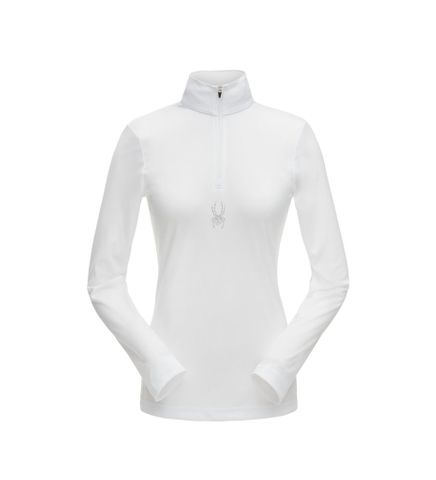 SPYDER TURBO ZIP T-NECK ('19) WOMENS TOP - WHITE -SIZE XS