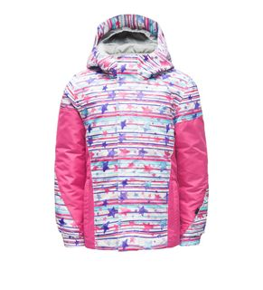 SPYDER BITSY CHARM GIRLS JACKET - STAR STRIP PRINT/TAFFY PINK - SIZE 5