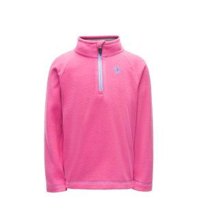 SPYDER BITSY SPEED FLEECE GIRLS TOP - TAFFY PINK/BLUE ICE - SIZE 5